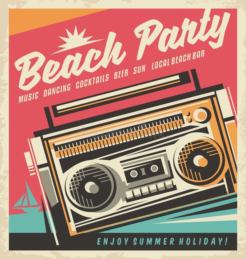 海滩党减速火箭的海报 向量例证