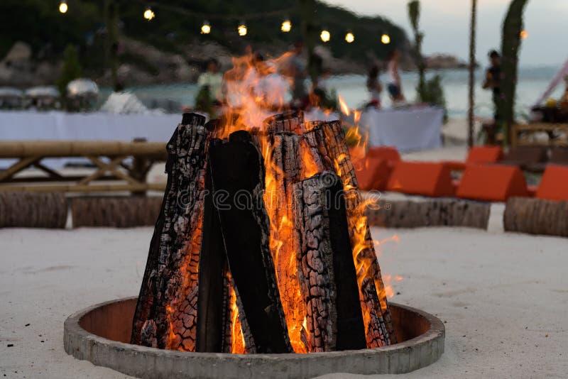 海滩党的篝火 免版税图库摄影