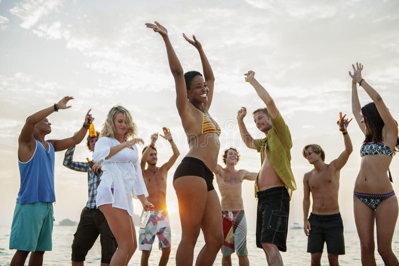 海滩党自由假期娱乐活动概念 免版税库存照片