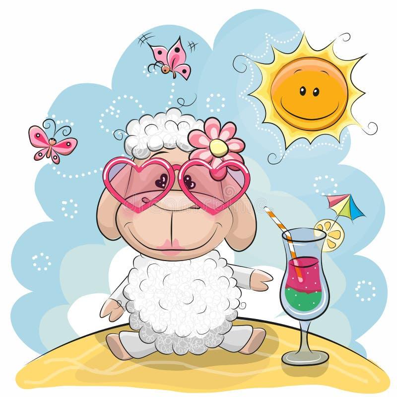 海滩冷农厂冰岛海洋绵羊 库存例证