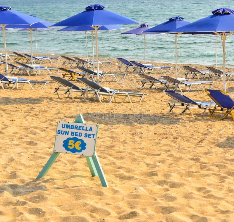 海滩出租服务概念 免版税图库摄影