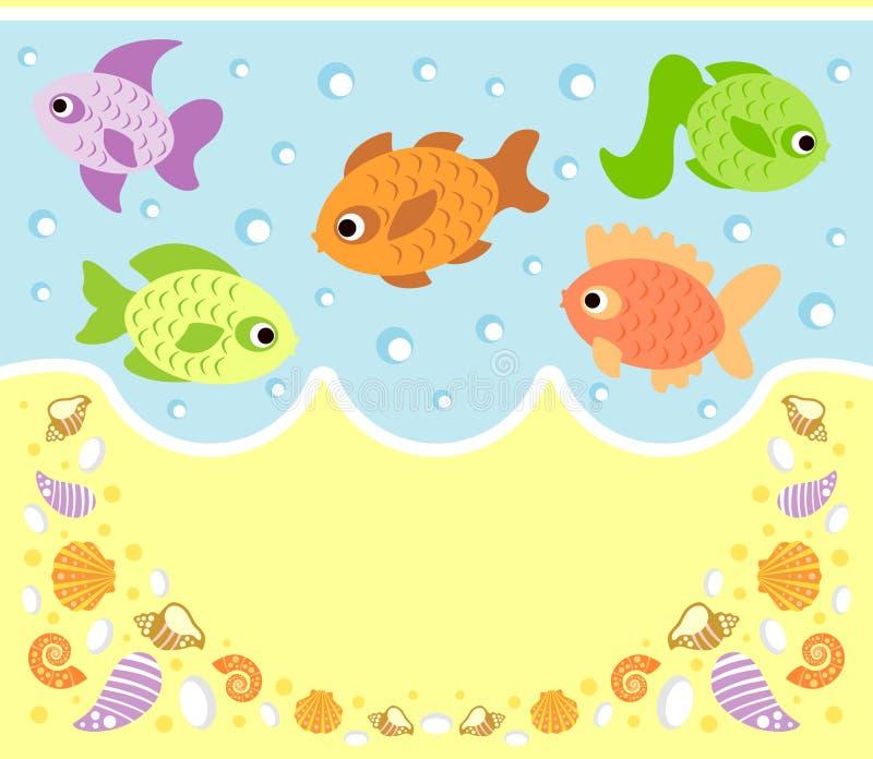 海洋动物与鱼的动画片背景