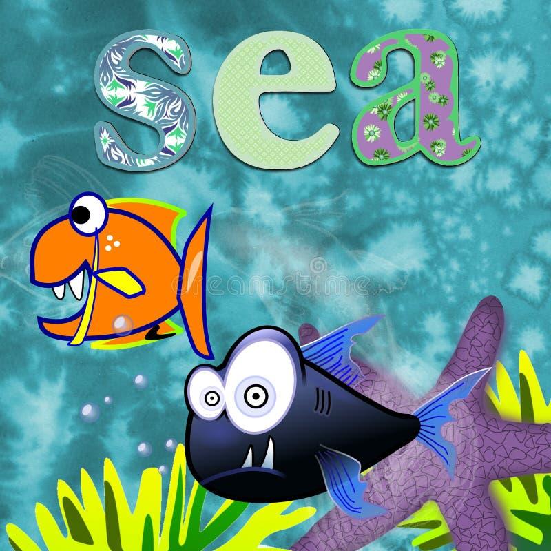 海洋动物孩子的乐趣设计 库存图片