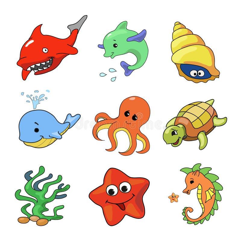 海洋动物汇集的传染媒介例证 库存例证