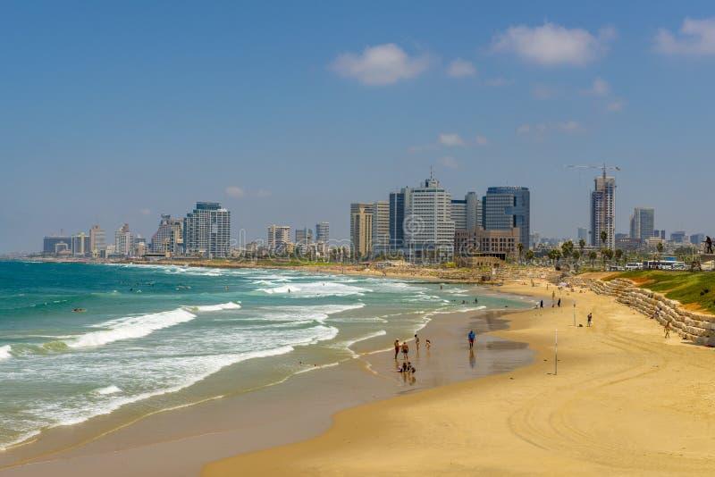 海滩和地中海沿海岸区 看法特拉维夫 免版税图库摄影