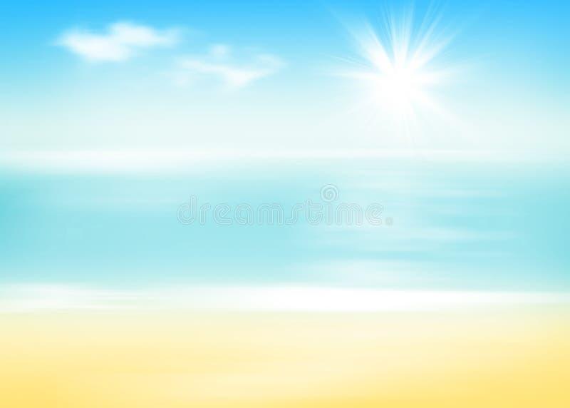 海滩和海有晴朗的天空的 向量例证