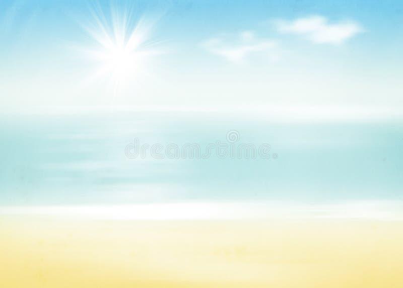 海滩和海有晴朗的天空的 库存例证