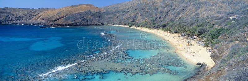海滩和Haunama海湾,奥阿胡岛,夏威夷 免版税库存图片