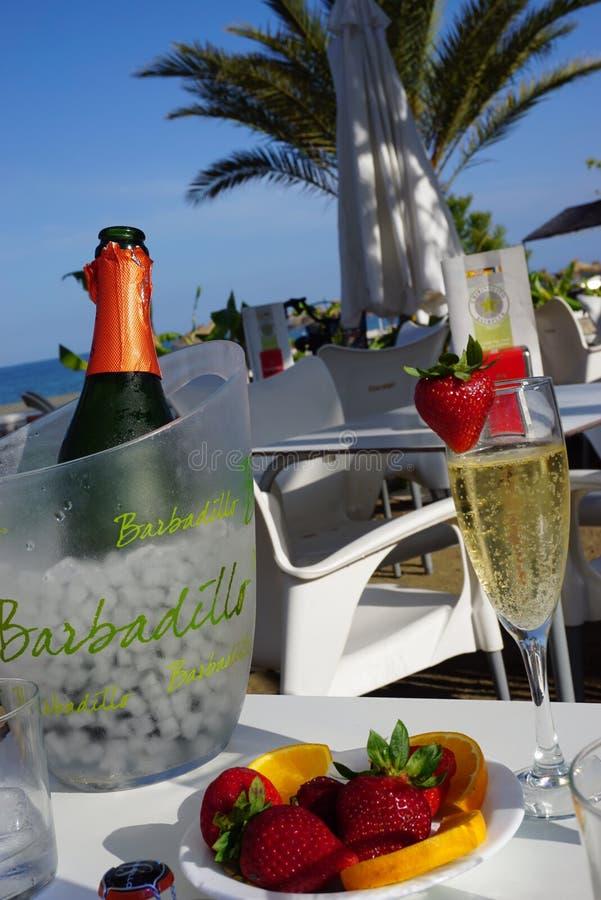 海滩咖啡馆桌在阳光下 库存照片