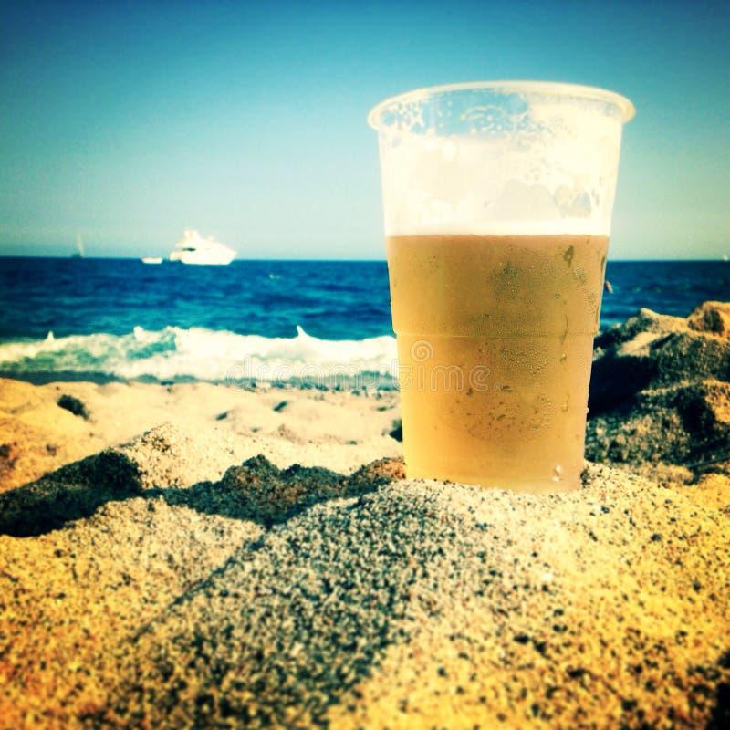 海滩啤酒 库存照片