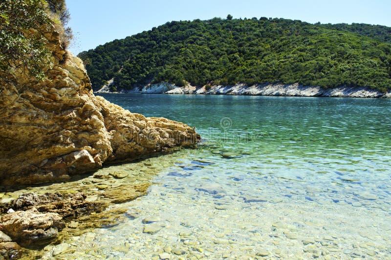 海滩在伊塔卡海岛希腊Filiatro 库存照片