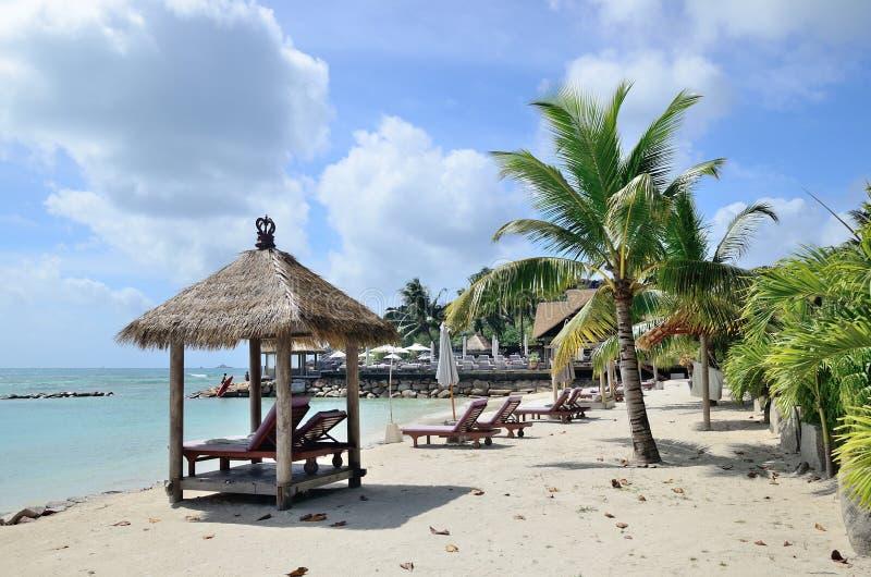 海滩在塞舌尔群岛 免版税图库摄影