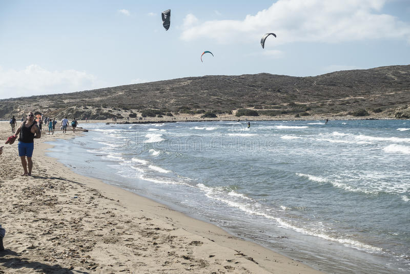 海滩在罗得岛的Prassonisi 免版税库存图片