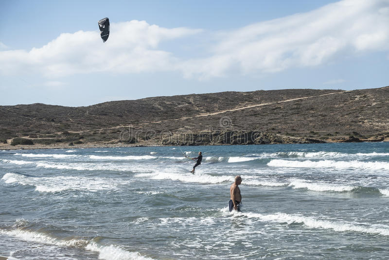 海滩在罗得岛的Prassonisi 库存照片