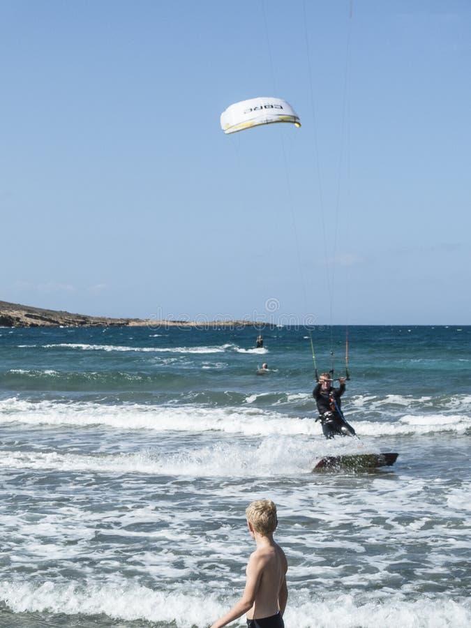 海滩在罗得岛的Prassonisi 免版税库存照片