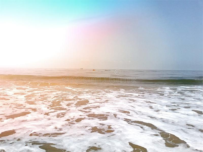 海滩在芒格洛尔,卡纳塔克邦,印度 库存图片