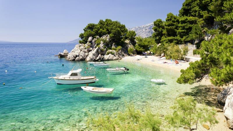 海滩在达尔马提亚,克罗地亚 免版税库存图片