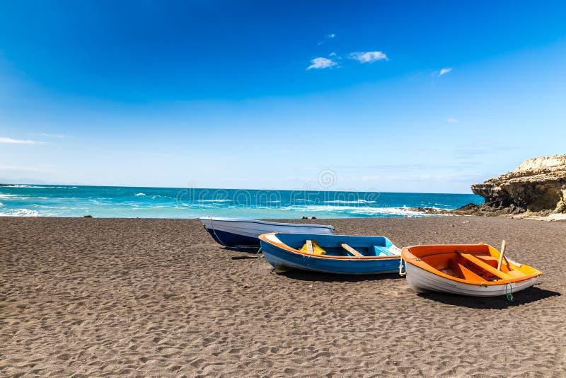 海滩在Ajuy,费埃特文图拉岛,加那利群岛,西班牙 免版税库存照片