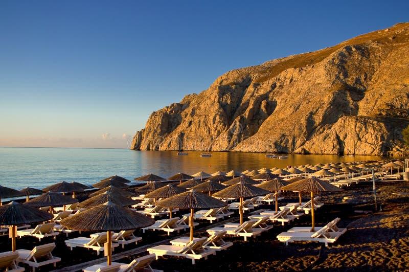 海滩在Kamari 库存图片