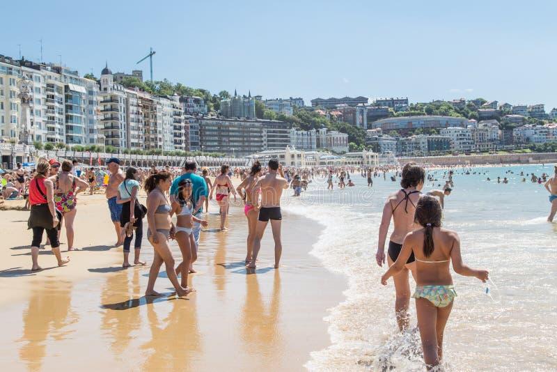 海滩在San Sebastian 免版税库存照片