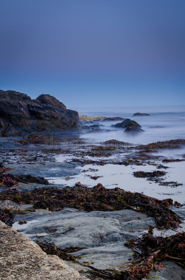 海洋场面在晚上 免版税库存图片