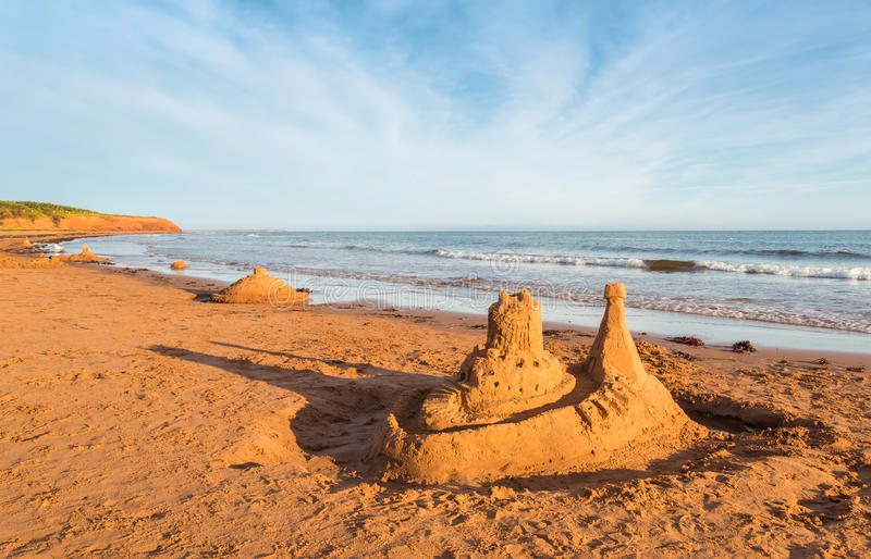 海滩城堡做沙子雕刻形状 图库摄影