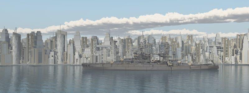 海滨城市和美国军舰从二战 库存例证