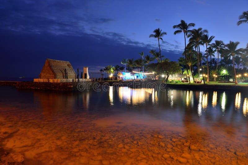 海滩夏威夷luau当事人日落 库存图片