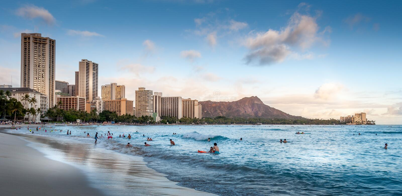 海滩夏威夷waikiki 库存照片
