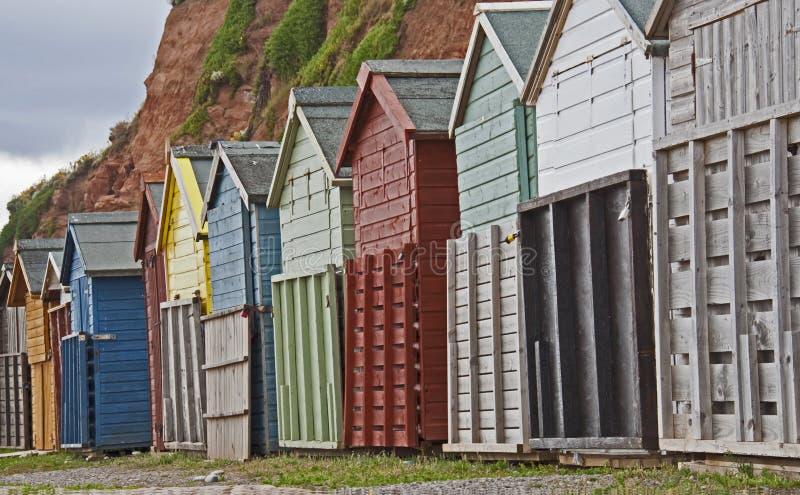 海滩小屋, Budleigh Salterton,德文郡,侏罗纪海岸世界遗产名录站点 免版税库存照片