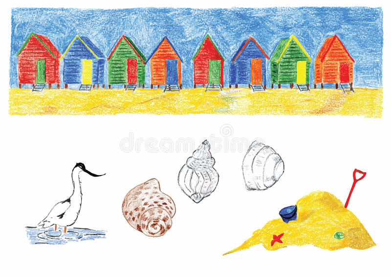 海滩小屋 向量例证