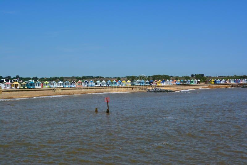 海滩小屋Southwold风景  库存图片