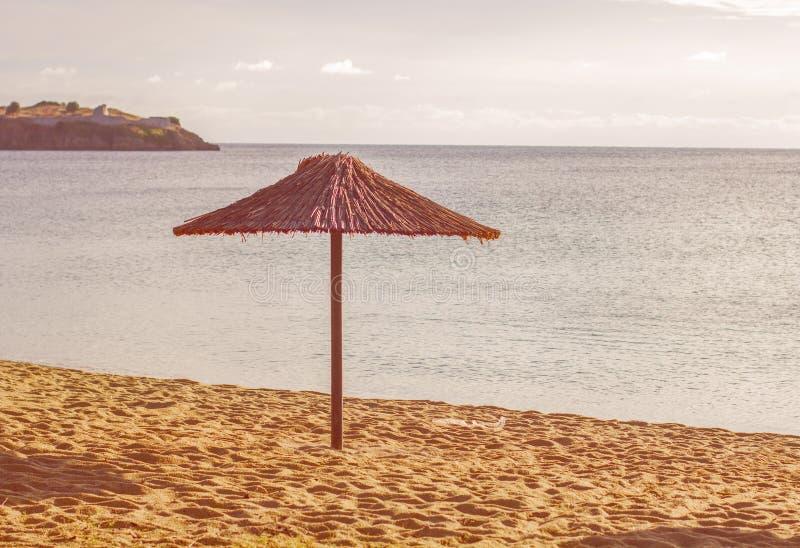 海滩希腊marmaras neos遮光罩 免版税图库摄影