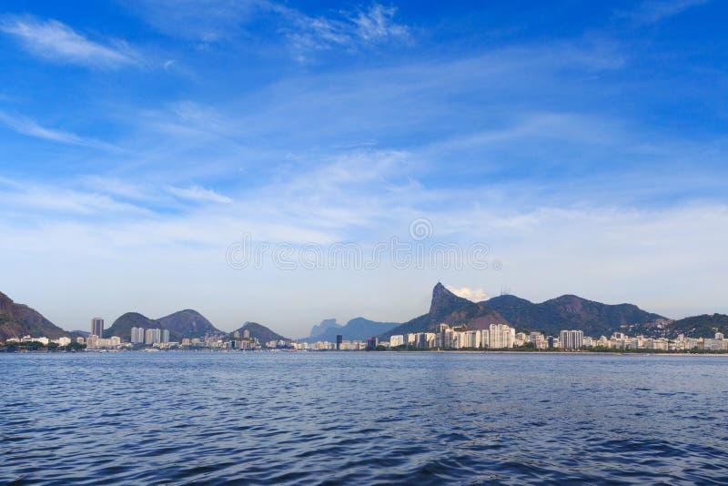海滩弗拉门戈队,博塔福戈, Corcovado,里约热内卢 库存照片