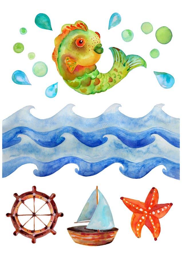 海水彩背景、水彩例证与波浪,鱼和小船 库存例证