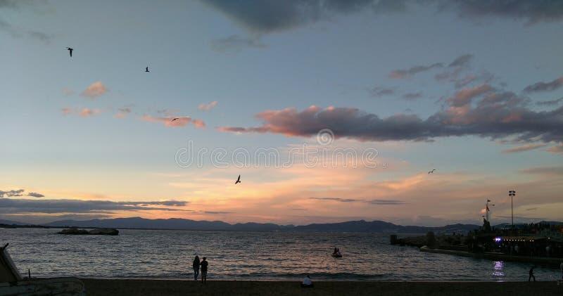 海滩微明 库存照片