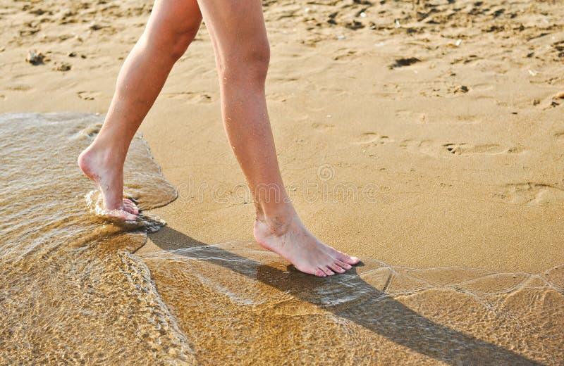 海滩旅行-走在沙子海滩的女孩把脚印留在沙子 女性脚和金黄沙子特写镜头细节  库存照片