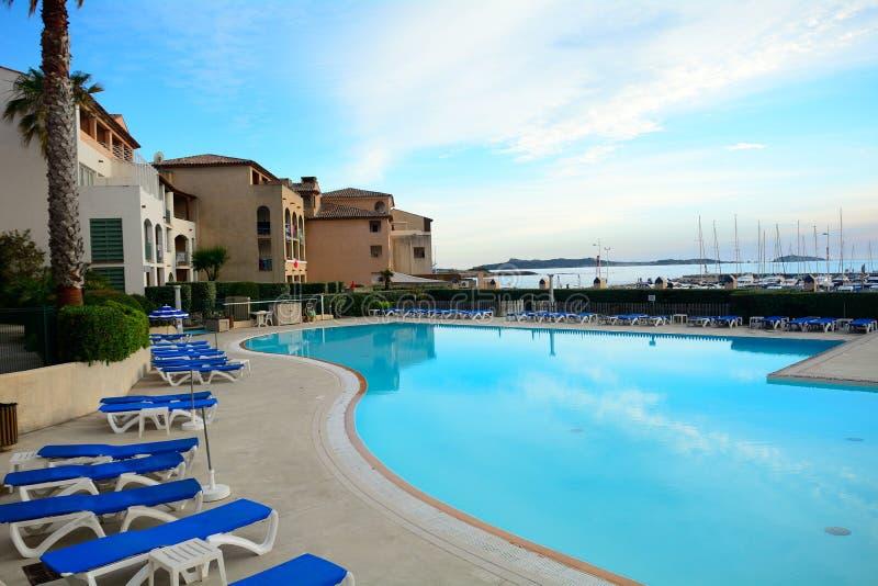 海滩旅馆,六Fours列斯色球,法国 免版税图库摄影