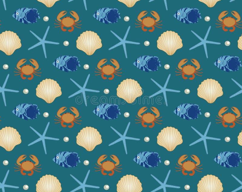 海洋无缝的样式,动画片样式 水下的世界,海洋生活无限背景 海星,壳,鱼 向量例证