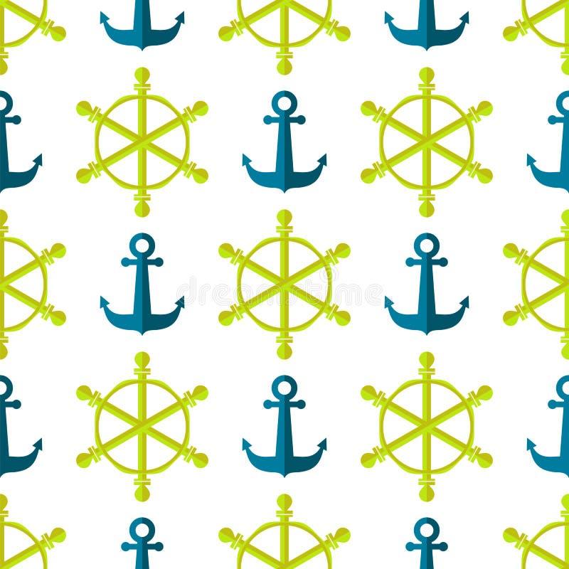 海洋无缝的船方向盘背景 向量例证