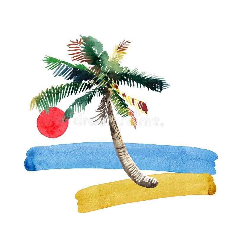 海滩日落的美好的明亮的逗人喜爱的绿色热带可爱的美妙的夏威夷花卉草本夏天样式,棕榈树,海,红色s 库存例证