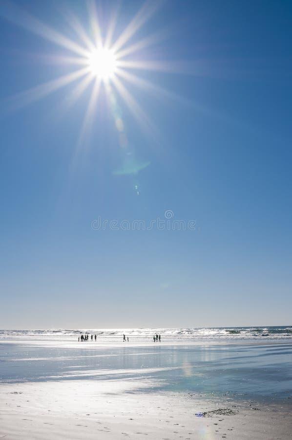 海滩星期日四个人员的向量例证 图库摄影