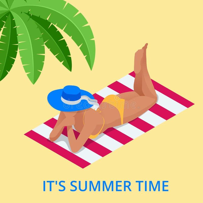 海滩暑假 妇女放松的晒日光浴在白色沙子和绿松石海洋 躺下等量旅游的女孩  库存例证