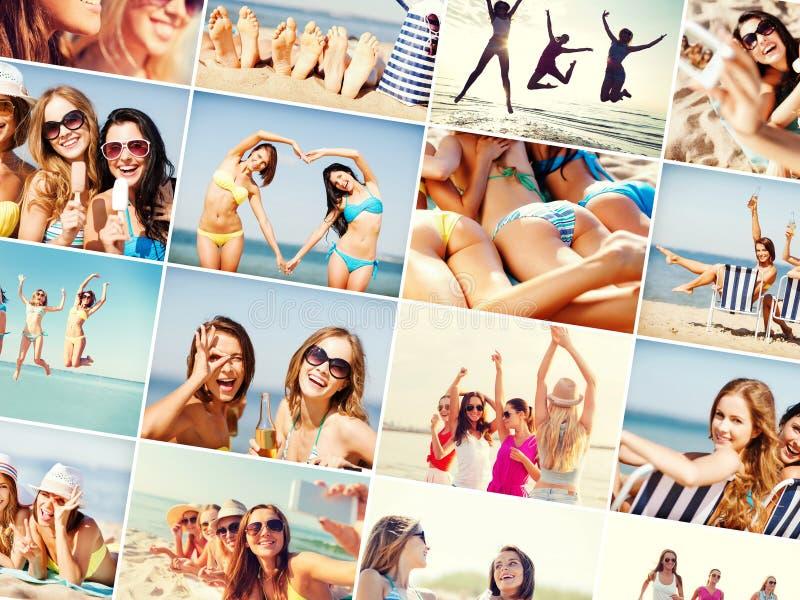 海滩有乐趣的女孩 免版税库存照片