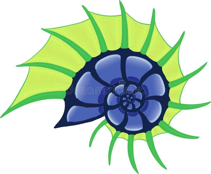 海洋有角的螺旋壳,绿色和蓝色图象 库存例证