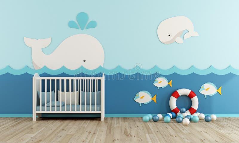 海洋样式的婴孩室 库存例证