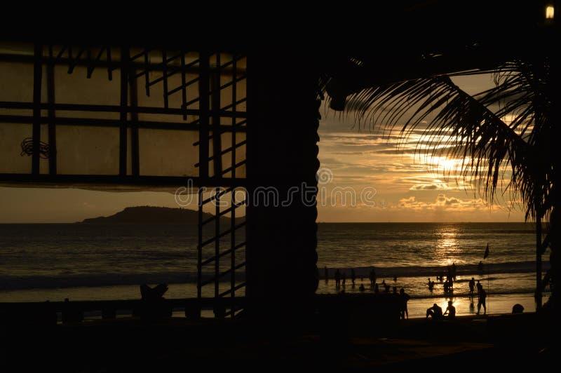 海滩棚子,果阿 库存照片
