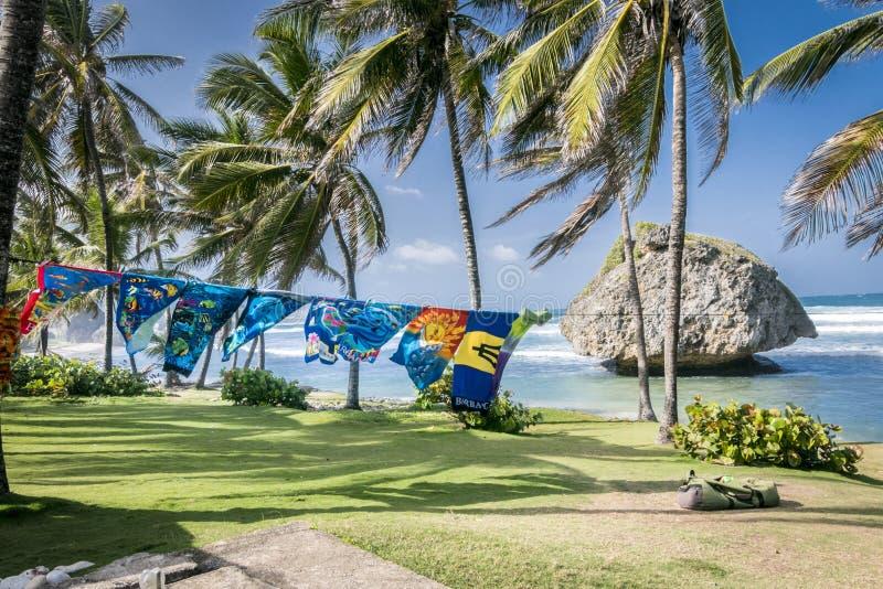 海滩毛巾在巴巴多斯 免版税库存图片