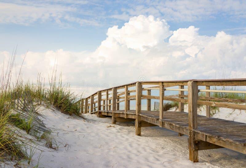 海滩沙丘的木板走道 库存照片
