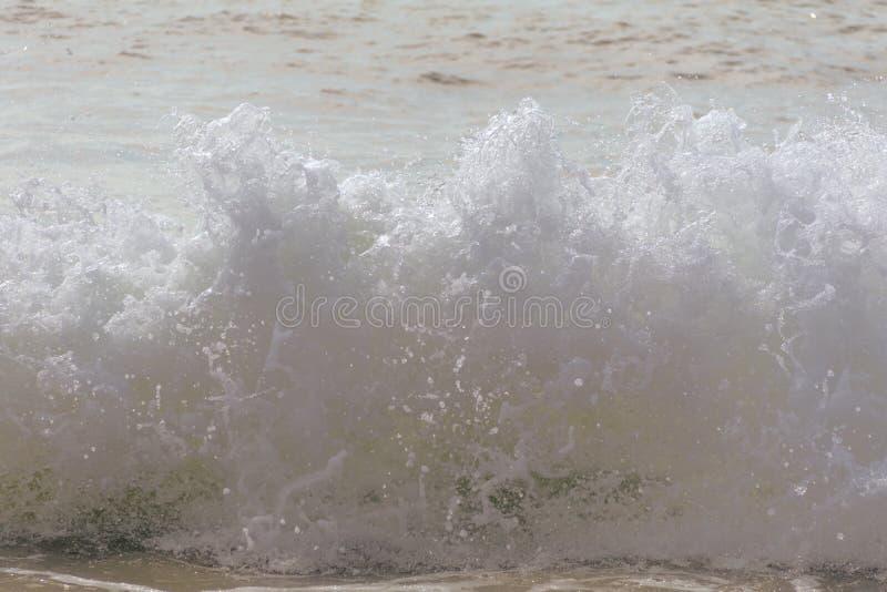 海滩波浪碰撞往岸在一个热的夏天早晨 免版税库存图片